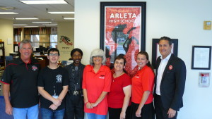 Mhare Mouradian (far right) with the Principal and Administrative Staff at Arleta High School